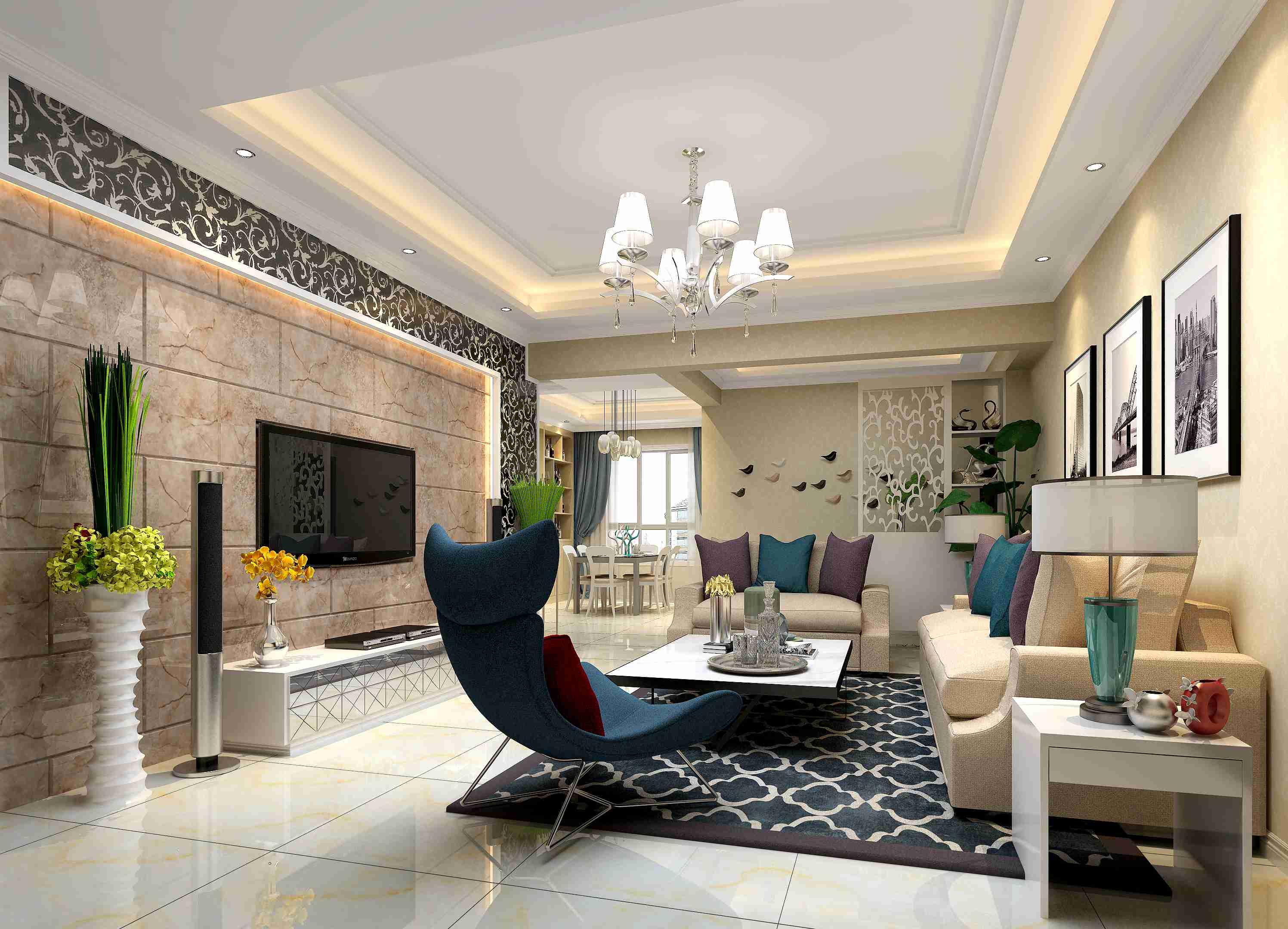 博雅豪庭 三室两厅装修效果图 现代简约装修风格